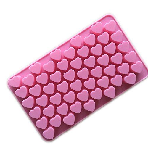 Xcellent Global Silikonform für Eiswürfel, Schokolade, Herzform, Pink