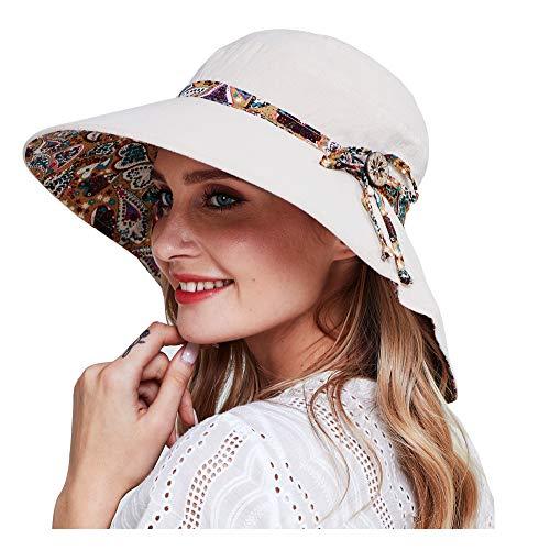 HAPEE Womens Garden Hat,Both Sides wear, Foldable Wide Brim UPF 50+,pefect for Women Fishing