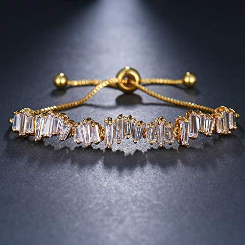 Armband voor dames, retro-armband, micro-ingelegde zirkonia, instelbaar, eenvoudige onregelmatige ladder zirkonia-accessoires, armband, sieraden, voor damesmode kleding gepersonaliseerde bijpassende accessoires G