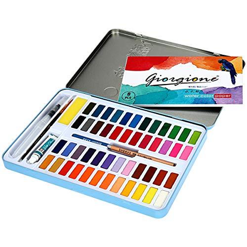 POLAMD Watercolor Paint Set 48 Colors Watercolor Kits Travel Pocket Professional Watercolor Block Portable Watercolor Paints for Artist Art Supplies Students Draw Painting (Color-A)