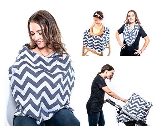 4 in 1 Breastfeeding Blanket, Stroller Cover, Scarf, Chair Cover, Nursing Cover Zigzag