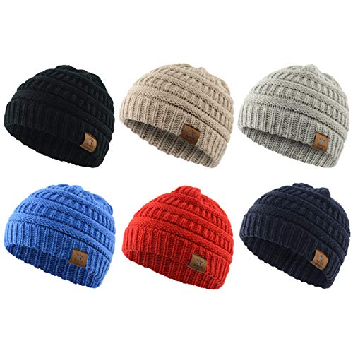 Century Star Christmas Beanie Baby Knit Hat Boys Infant Toddler Beanies Cute Winter Hats for Baby Unisex 6 Pack A