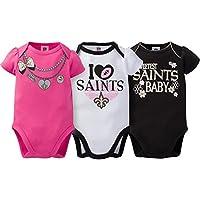 NFL New Orleans Saints Girls Short Sleeve Bodysuit (3 Pack), 18 Months, Pink