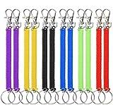 Llavero Espiral 12 Piezas Estirable Llavero Plástico Colorido de Resorte con Muelle Retráctil...
