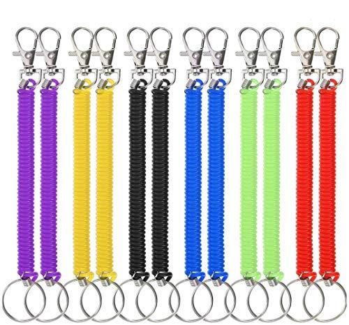 Llavero Espiral 12 Piezas Estirable Llavero Plástico Colorido de Resorte con Muelle Retráctil Alambre para Escuela Oficina 6 Colores