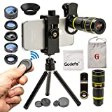Godefa Cell Phone Camera Lens with Tripod+ Shutter Remote,6 in 1...