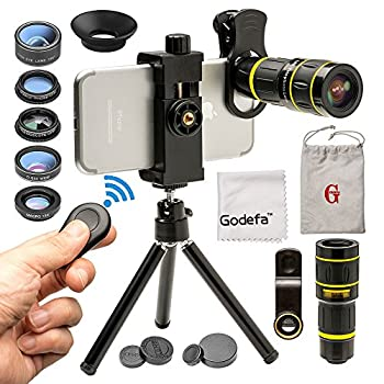 Godefa Cell Phone Camera Lens with Tripod+ Shutter Remote,6 in 1 18x Telephoto Zoom Lens/Wide Angle/Macro/Fisheye/Kaleidoscope/CPL Clip-On lense Compatible for iPhone X 8 7 6s Plus Samsung and More