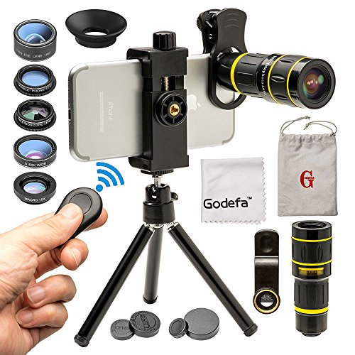 Godefa Cell Phone Camera Lens with Tripod+ Shutter Remote,6 in 1 18x Telephoto Zoom Lens/Wide Angle/Macro/Fisheye/Kaleidoscope/CPL, Clip-On lense Compatible for iPhone X 8 7 6s Plus, Samsung and More (Wireless Phone Accessory)