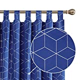 Deconovo Cortina Dormitorio Térmica Aislante Frío y Calor Dcorativo con Trabillas 2 Piezas 140 x 245 cm Azul Oscuro
