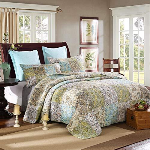 Teyun. Dreiteilige Bett amerikanischen Patchwork-Baumwollhandgemachtes Gesteppte Anzug for Schlafzimmer (Color : Multicolor)