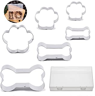 BakingWorld Dog Cookie Cutter Set - 6 Piece - Dog Bone and Dog Paw Print Biscuit Cookie Mold for Homemade Treats - Stainless Steel(Assorted Sizes)