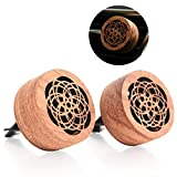 Essential Oil Car Diffuser with Vent Clip, 2 PCS Mini Portable Natural Log Lava Stone Aromatherapy Wooden Flower Car Diffuser Locket