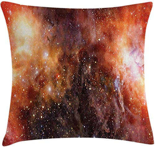 Outer Space Throw Pillow Cushion Cover Nebula Gas Cloud in Deep Outer Space Galaxy Expanse Milky Way Print Decorative Square Accent Pillow Case 18' X 18' Burnt Orange Black