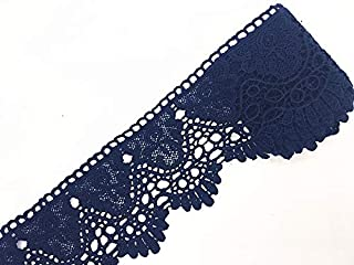 9CM Width Europe Crown Pattern Inelastic Embroidery Lace Trim,Curtain Tablecloth Slipcover Bridal DIY Clothing/Accessories.(2 Yards in one Package) (Navy Blue)