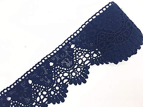 Garniture de dentelle inélastique pour broderie de motif couronne Europe de 9CM de largeur, vêtements / accessoires Bridal DIY de couverture de nappe de rideau.(4 yards dans un package) (bleu marine)