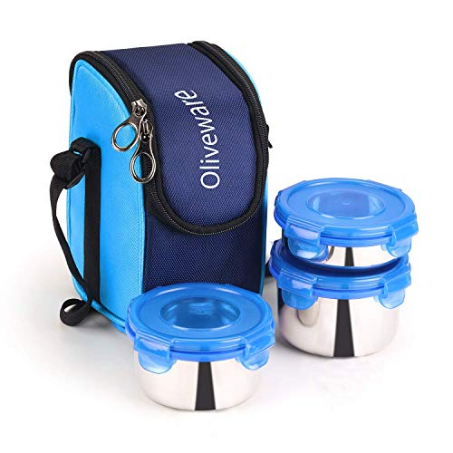 Oliveware Macho Lunch Box - Blue | Steel Range | Microwave Safe & Leak Proof | 3 Air-Tight Containers with Bag | Keep Food Hot | School, College & Office Use