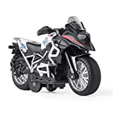 Diecast Motorcycle Toy - Pull Back Toy Cars with Sound and Light Toy,Motorcycle Toys for Boys,Toys for 3-9 Year Old Boys (White)