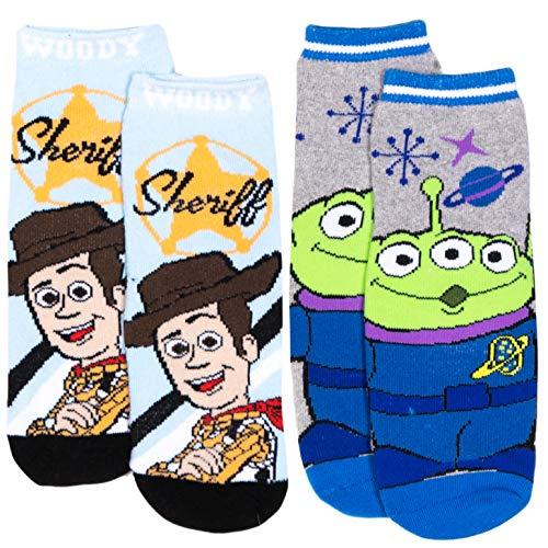 Disney Toy Story 4 - Calzini antiscivolo in spugna con licenza originale, confezione da 2/4 paia di calzini 70% cotone – per bambini  Confezione da 2, blu/grigio. 27-30 Taglia EU