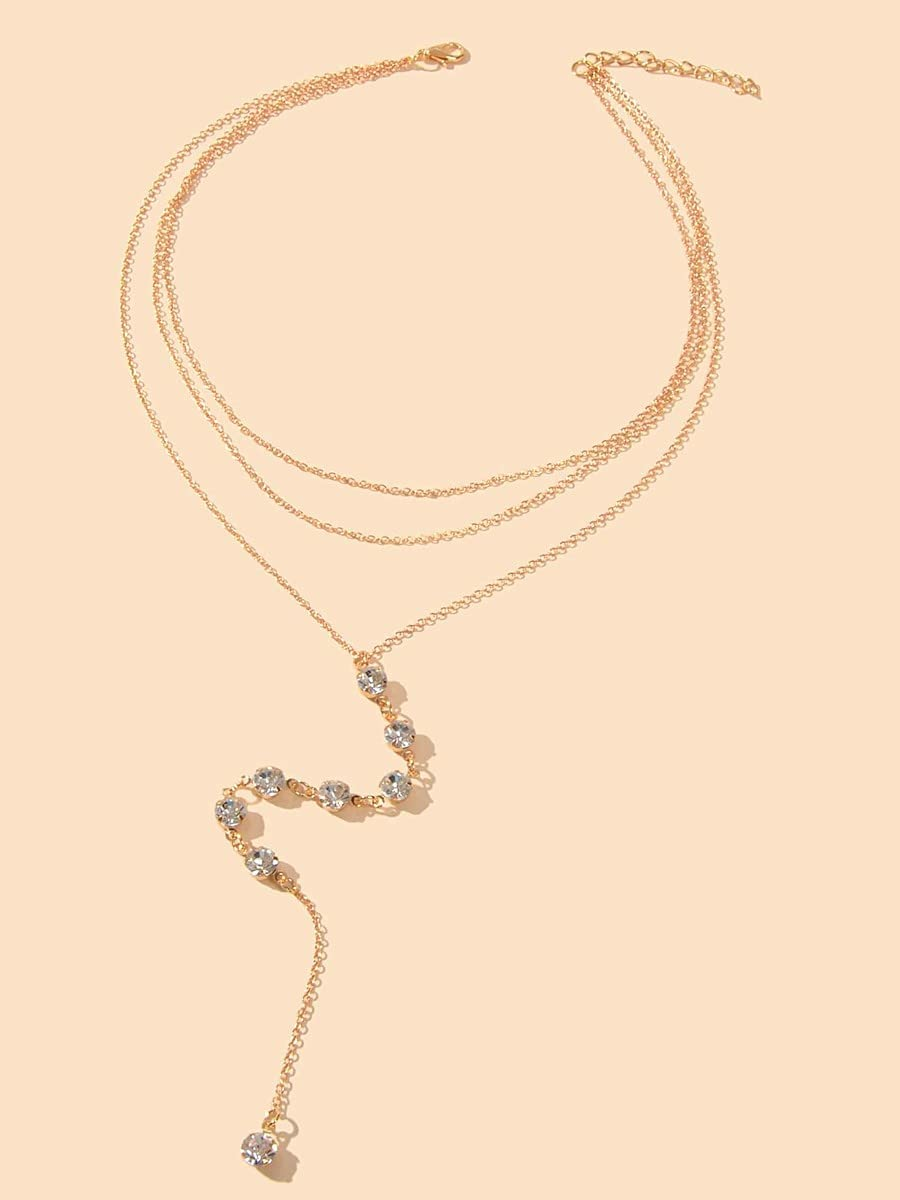frenma Necklace Pendant Rhinestone Charm Y Lariat Layered Necklace (Color : Gold)