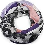 styleBREAKER Damen Loop Schal mit Leoparden Animal Print Muster und Color Blocking Farbflächen, Schlauchschal, Tuch 01016182, Farbe:Violett-Flieder-Altrose