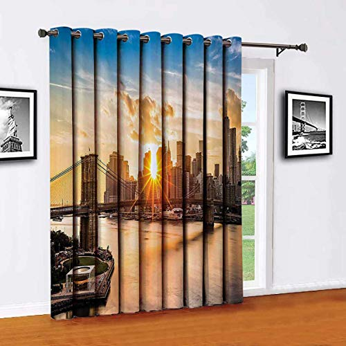 Toopeek NYC Decor Wear-resistant color curtain Cityscape of Brooklyn Bridge and Lower Manhattan Hudson River Center of Fashion Art and Culture For living room or bedroom W52 x L63 InchMulti