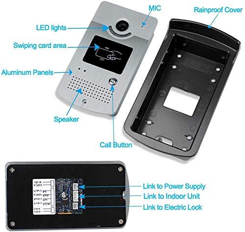 dxx Fotocamera da 7 pollici video a colori Wifi video campanello Intercom cablati Rfid con 1 Sorveglianza videotelefono per 500 utenti, per appartamenti con metallo elettrico Locks