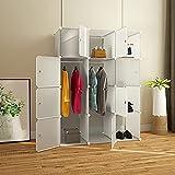 Armario modular de cubos con puerta perchero estantería mueble modular para ahorrar espacio de almacenamiento, organizador...