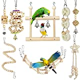 Small Bird Swing Toys, 8 Pieces Parrots Chewing Natural Wood and Rope Bungee Bird Toy for Anchovies, Parakeets, Cockatiel, Conure, Mynah, Macow and Other Small Birds