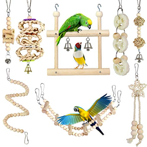 PETUOL Small Bird Swing Toys, 8 PCS Parrots Chewing Natural Wood and Rope Bungee Bird Toy for Anchovies, Parakeets, Cockatiel, Conure, Mynah, Macow and Other Small Birds