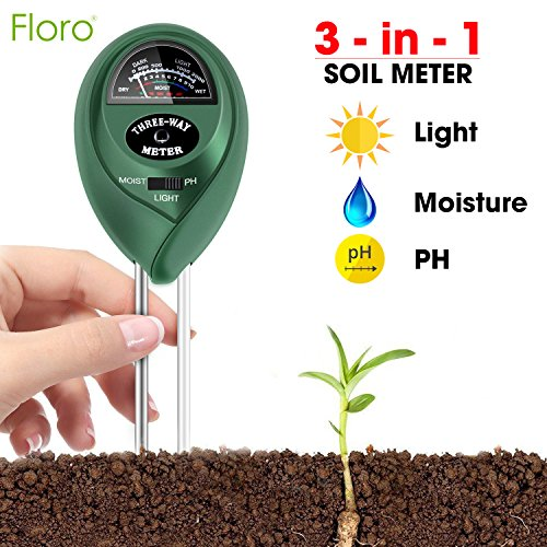FLORO 3-in-1 Soil Tester, 11x2.4 Inches, Measures Light, Moisture and pH, Professional Gardening Tool for Farm and Kitchen Garden, No Batteries Required, Easy to Read Indicator, Indoor or Outdoor Use