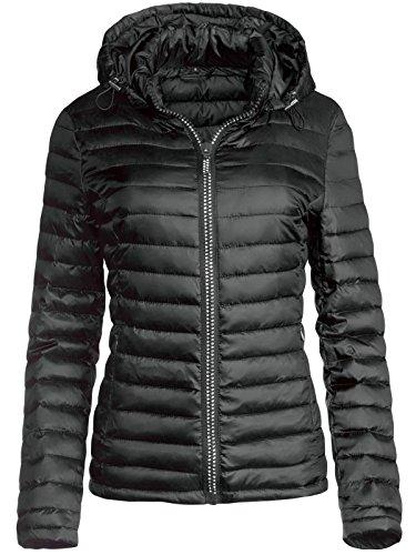 Trisens Damen ÜBERGANGSJACKE Strass Zipper Steppjacke FRÜHLINGSJACKE Jacke, Farbe:Schwarz, Größe:L