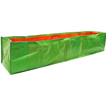 "YUVAGREEN Long UV Treated Terrace Gardening Green Grow Bags for Leafy Greens and Vegetable with Top Support (Clip Holes)(60"" X 12"" X 12"") - (Pack of 1)"