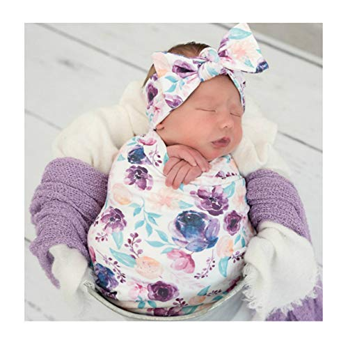 Newborn Floral Print Blanket Baby Stretch Wrap Swaddle Blanket Receiving Blanket with Matching Headband and Beanie