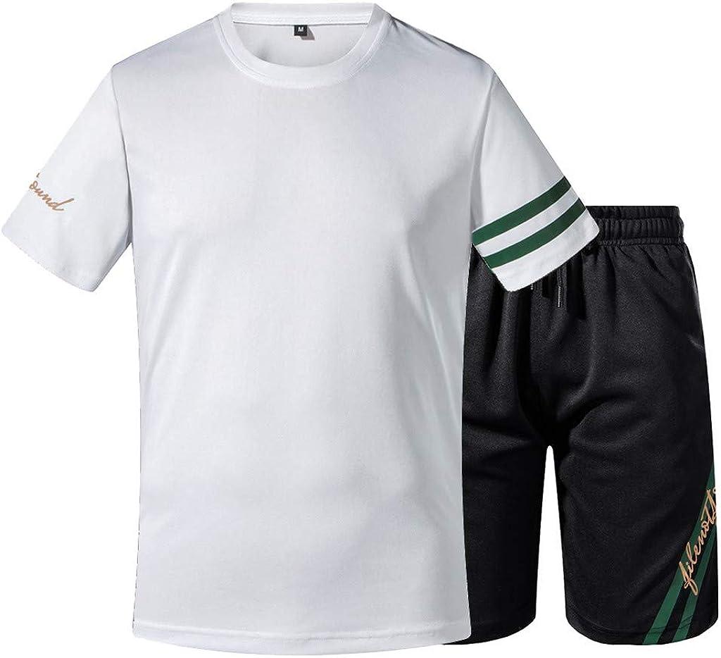 MODOQO Men's Plus Size Printed Casual Sport Short Sleeved Shorts Suit