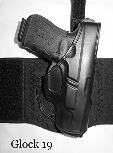 DTOM AH10 Ultimate Comfort Leather and Neoprene Ankle Holster for The Glk 26, 27, 33 Includes Calf Support Strap!
