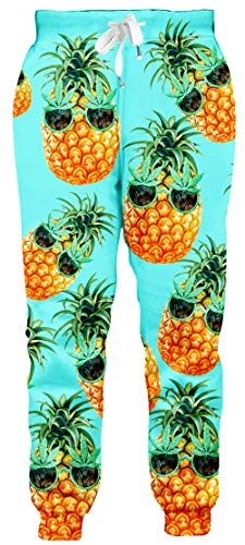 chicolife Herren Damen Jogger Hosen 3D Niedlichen Cartoon Ananas Drucken Jogginghose Lose BeiläUfige Elastische Sweatpants mit Tasche für Jugend Jungen Mädchen