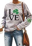YMING St Patricks Day Sweatshirt Womens Long Sleeve Raglan Letter Print Clover Leaf Tee Shirts Grey Love M