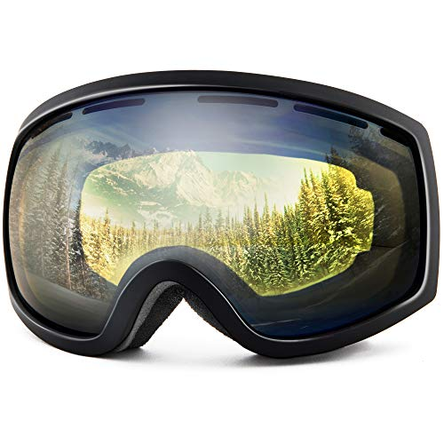 Wantdo Anti Fog Forever Ski Goggles Double Layer Spherical Lens OTG Snow Goggles with 100% UV400 Protection for Men and Women Skiing, Snowboarding, Motorcycle Cycling