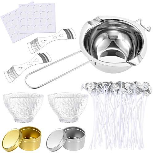 Pajaver Kerzenherstellung Kit für Erwachsene, Kerzenherstellung Zubehör, 50 Kerzendochte für Kerzen, 50 Wick Aufkleber, 2 Kerzenglas, 2 Tassen, 2 Wick Holder Sustainer und 1 Wachstopf