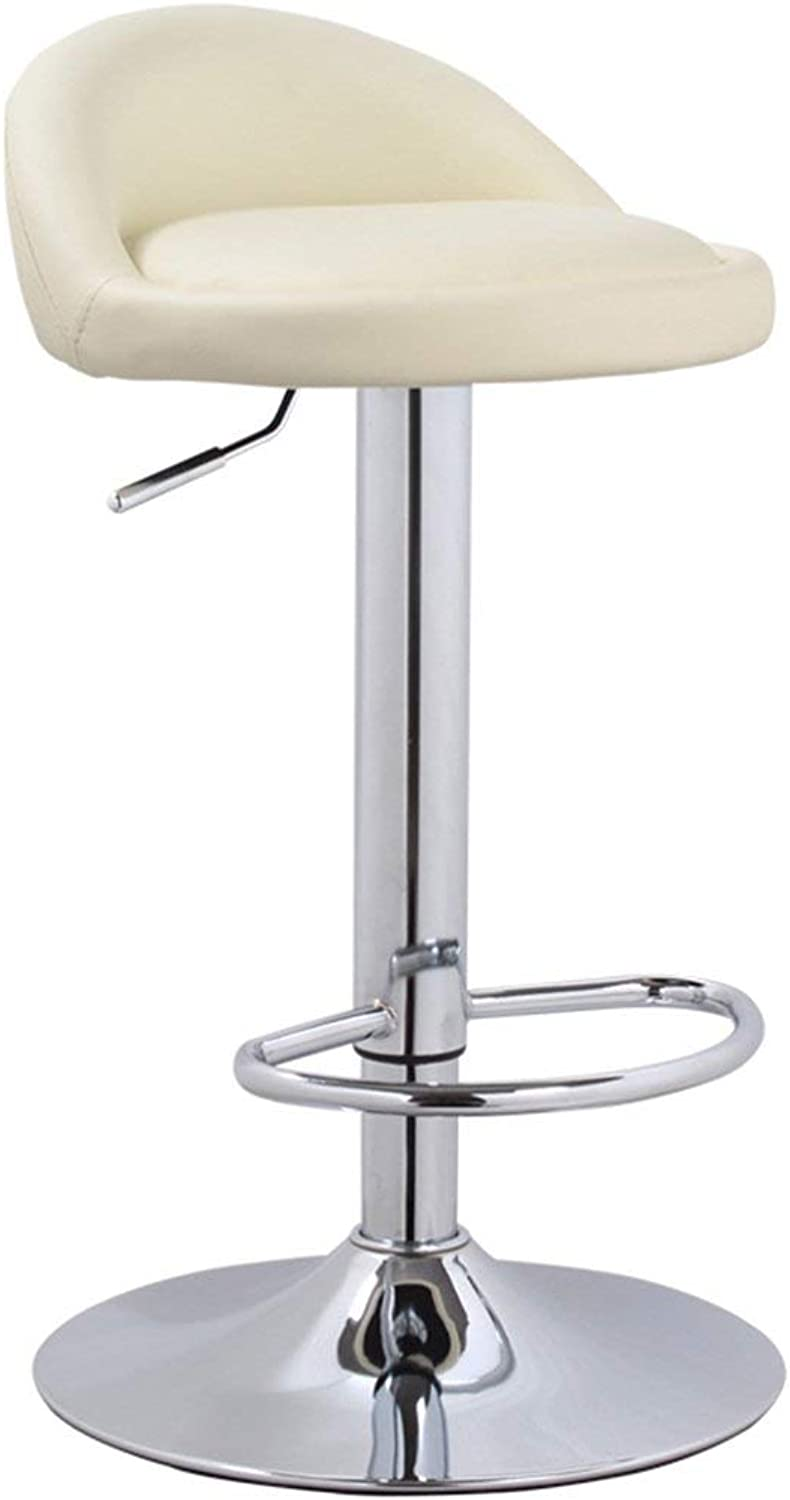 GJD ° Adjustable Height Bar Stool Backt Stool Chrome Base Simple Front Desk Chair (color   C)