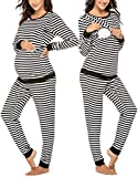 Ekouaer Maternity Thermal Pajama Set Nursing Warm Underwear Striped Long Sleeve Sleepwear for Mother to be (Black S)