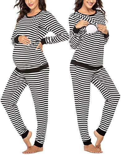 Ekouaer Thermal Underwear for Women Materinity Nursing Smooth Knit Thermals Women's Long John Set (Black XXL)
