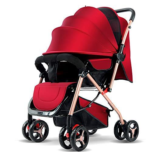 Znesd Luxe bébé poussette 2 en 1 réversible Tout Terrain bébé Poussette, Haut Paysage pliant transport Four Seasons absorption des chocs du nouveau-né poussette (Color : Red)