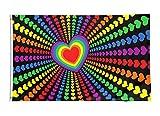 Star Cluster 90 x 150 cm Herzförmige LGBT Liebe Flagge und Fahne/Rainbow Heart Love Flag (Herz LGBT 90 x 150 cm)