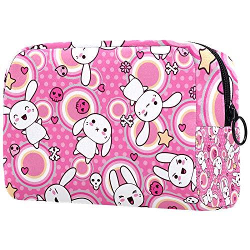 Bolsa de cosméticos de viaje grande para mujer – Neceser de viaje y maquillaje cosmético bolsa con muchos bolsillos, líneas de acuarela a rayas