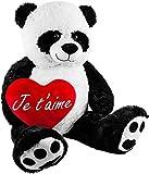 BRUBAKER Peluche Gigante XXL - Oso Panda - 100 cm - Corazón de Felpa 'Je T'Aime' Incluido