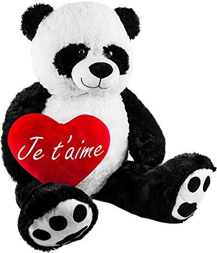 BRUBAKER Peluche Gigante XXL - Oso Panda - 100 cm - Corazón de Felpa Je TAime Incluido