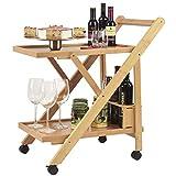 Dimono® Servierwagen aus Bambus; Klappbarerer Küchenwagen mit Flaschenhalter; Design Küchen-Trolley Rollwagen für Zuhause