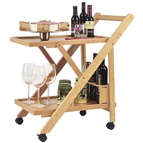 Dimono® Bamboo trolley de service ; Chariot de cuisine pliable avec porte-bouteilles ; Chariot de cuisine design à roulettes pour la maison