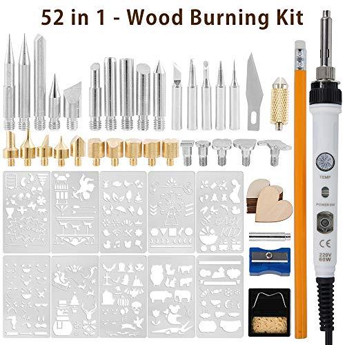 ウッドバーニング 59点セット はんだごてセット 電熱ペン 電子はんだごて ウッドバーニングセット ウッドバーニング ペン 多機能 温度調節可能 (150〜450℃)焼き絵 木彫りキット 美術工芸品 ウッドバーニング&はんだごて両用 110V/60W 趣味
